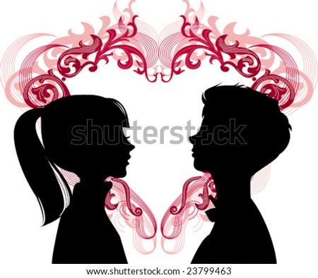 Women and men loving each other and heart between them. Ideal for dating services or valentine day, vector images scale to any size. - stock vector