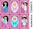 Women and newborns / Set of icons with the image of the pregnant woman, newborns and nurses on a pink background with a frame in the form of a lace. - stock vector
