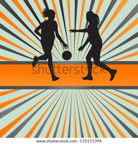 Women basketball players vector abstract background - stock vector