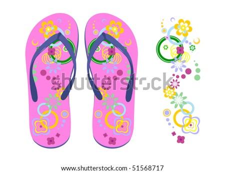 Women beach slippers and flower pattern