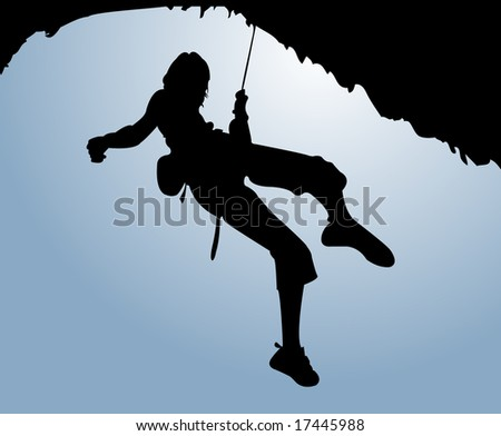 Women climb on the rock - stock vector