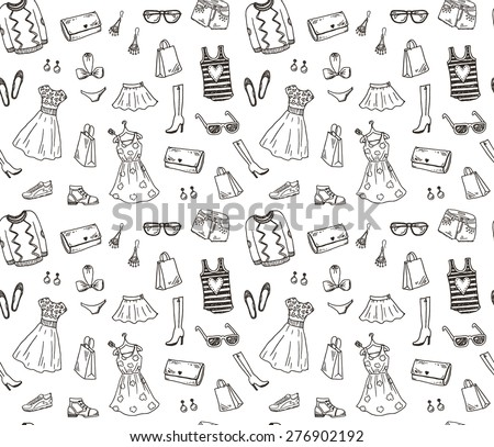 Women clothes and accessories, hand drawn doodle seamless pattern - stock vector