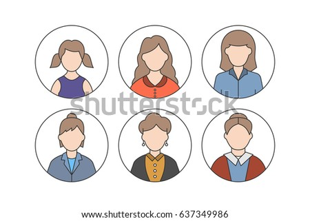 Women color avatars concept with different ages isolated on white background in line style by aging: child, teenager, young, adult, old people. People generations.