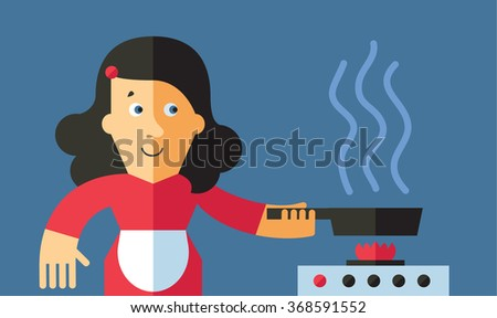 Women cooking in the kitchen.  Flat vector illustration.