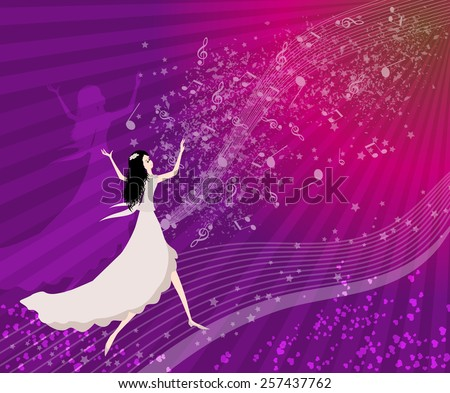 Women dancing with musical notes-praising-Vector illustration - stock vector
