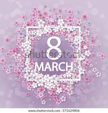 Women day background with frame flowers - stock vector