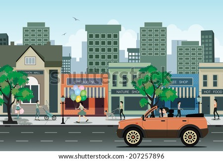 Women driving on city streets with sky in the background. - stock vector