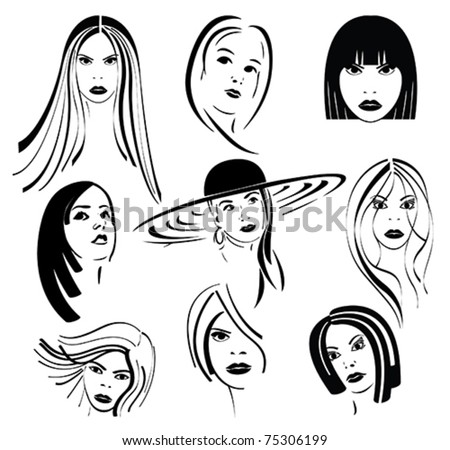 Women face with different hairstyles - vector stylized - stock vector