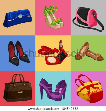 Women fashion bags classic shoes and modern accessories collection of decorative icons vector illustration - stock vector