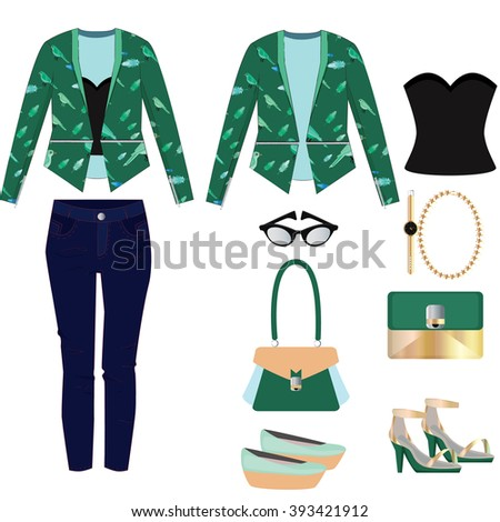 Women fashion illustration. Women clothes set for day and night.