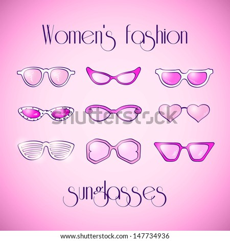 Women fashion isolated pink sunglasses vector set