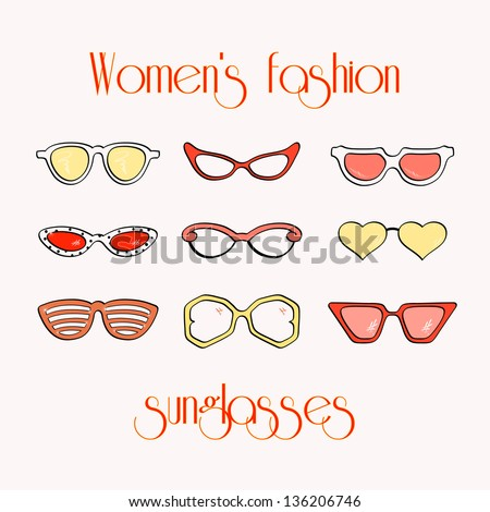 Women fashion isolated sunglasses vector set
