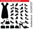women fashion silhouette set  bags and shoe - stock vector