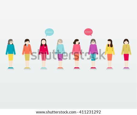 Women Gather Together Vector Design - stock vector