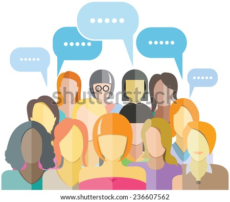 women group social networking with speech bubbles