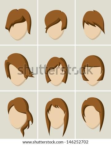 Women hair style icon set - stock vector