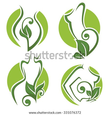 women health, beauty and treatment symbols, logo, emblems and icons - stock vector