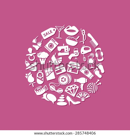 women icons in circle - stock vector