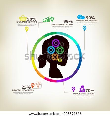 women ideas infographic concept - stock vector