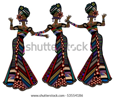 women in beautiful dresses in ethnic style dancing on a white background - stock vector