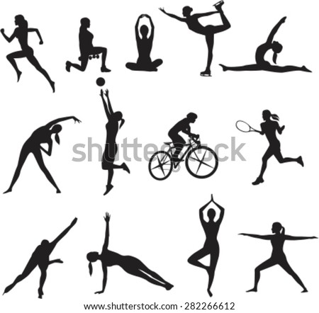 Women in different kinds of sports. Vector - stock vector