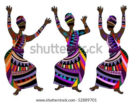 Women in ethnic style dance celebration dance - stock vector