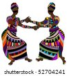 Women in ethnic style dance funny dance - stock photo