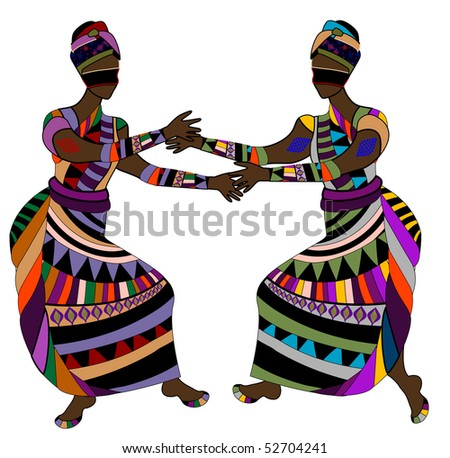 Women in ethnic style dance funny dance - stock vector