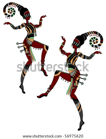 Women in ethnic style dancing on a white background - stock vector