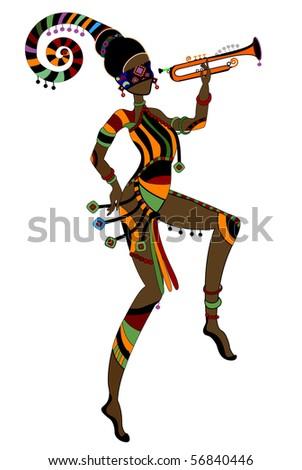 Women in ethnic style dancing their religious dance - stock vector