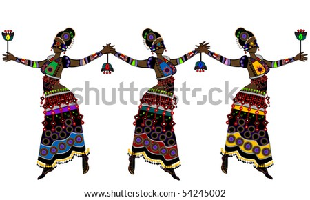Women in ethnic style dancing their traditional dance - stock vector