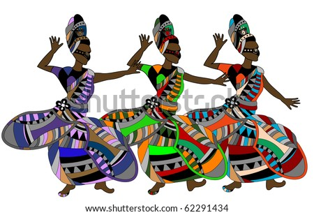 women in the ethnic style of dance gala dance on a white background - stock vector