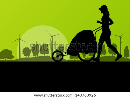 Women marathon runner with baby sport carriage in wild forest nature countryside landscape background illustration vector - stock vector