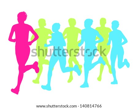 Women marathon winner finish vector background and group of runners - stock vector
