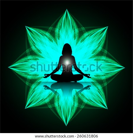 women meditation on green abstract background. yoga. - stock vector