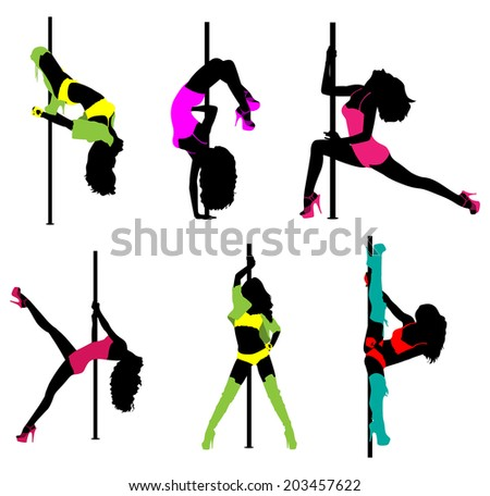 Women pole dance silhouettes in clothing. EPS 10 format.