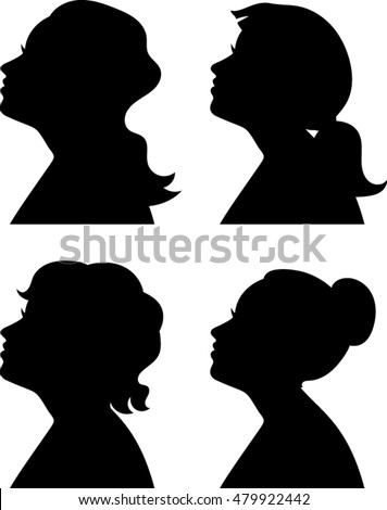 Women Profile Silhouettes - Vector Illustration