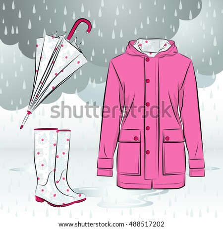 Women rain boots, waterproof jacket and umbrella with colorful seamless floral pattern against cloudy background with raindrops