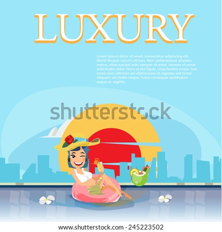 women relaxing in a swimming pool with a cocktail. sky pool with sunset and city background. luxury concept - vector illustration - stock vector