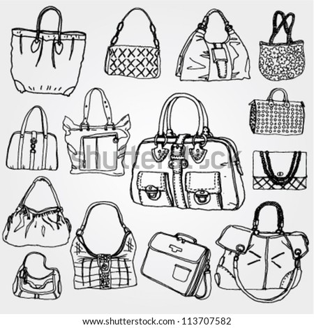 Women's Bags Hand Drawn - stock vector