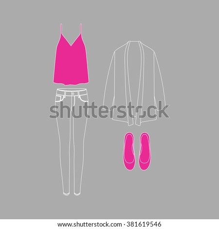 women's clothing. Jeans. Pants. Top . Cardigan. Shoes - stock vector