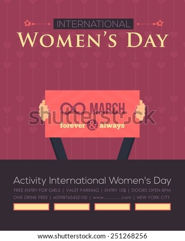 Women's Day Flyer Poster - Activity, Events, Celebration, Announcement Vector Background - stock vector