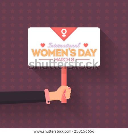 Women's Day Flyer Poster - Hand Hold Signboard Flat Vector Design - stock vector