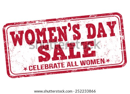 Women's day sale grunge rubber stamp on white background, vector illustration - stock vector