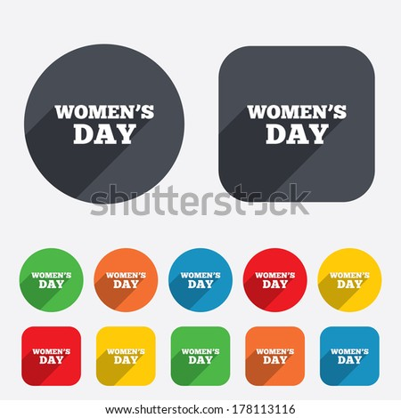 Women's Day sign icon. Holiday symbol. Circles and rounded squares 12 buttons. Vector