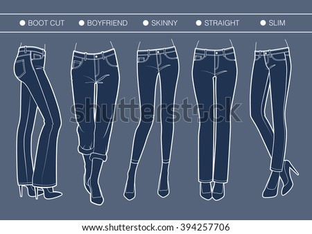 Women's denim fits. Trousers' silhouette for various needs                                           - stock vector