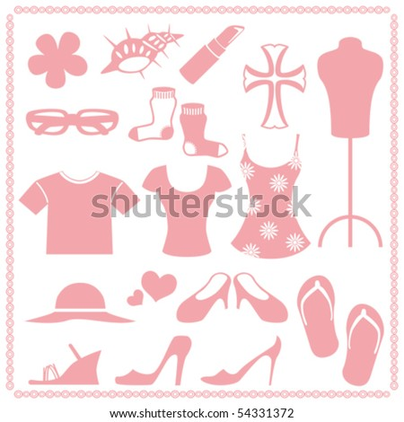 Women's fashion icon sets - stock vector