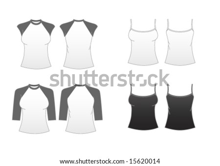 Women's Fitted T-shirt Templates Series 3-Sleeveless Spaghetti-strap,Cap Sleeve and Baseball Tees - stock vector