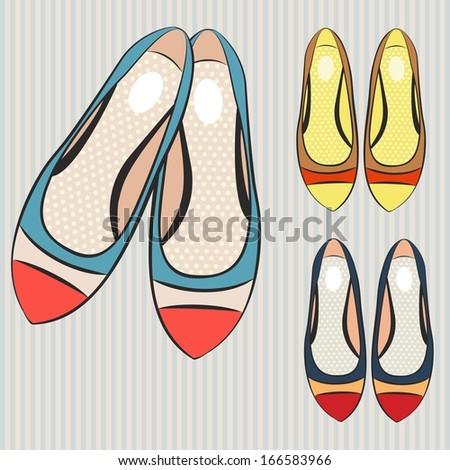 women's flat shoes  - stock vector