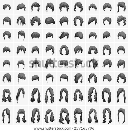 women's hairstyles and haircuts in black and gray tones - stock vector
